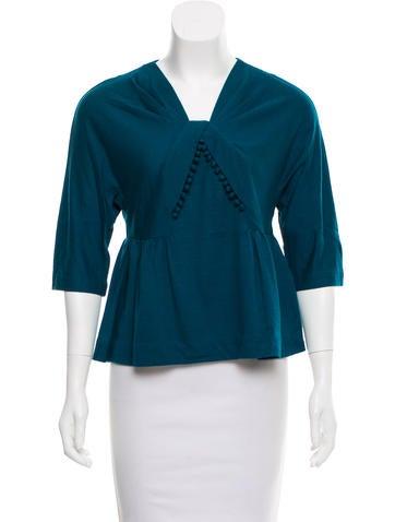 3.1 Phillip Lim Wool Short Sleeve Top None