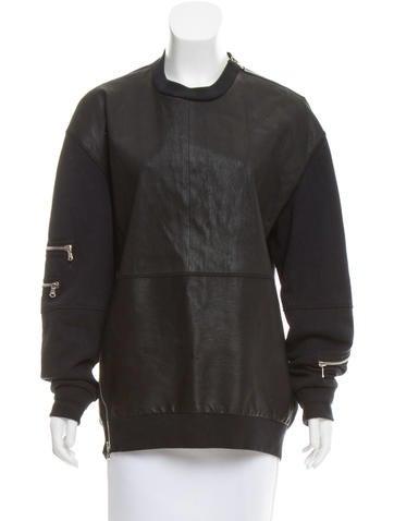 3.1 Phillip Lim Leather Long Sleeve Sweatshirt None