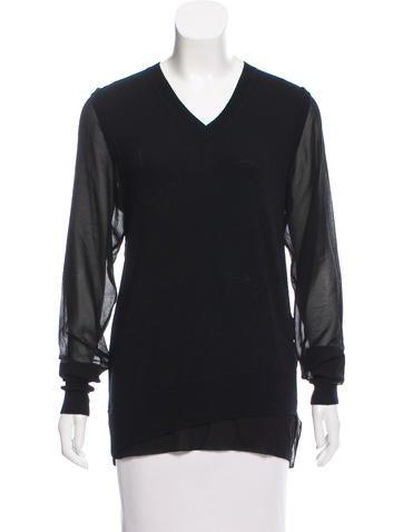 3.1 Phillip Lim Chiffon  & Wool Sweater None
