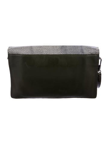 Embossed Leather Scout Flap Clutch