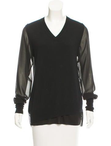 3.1 Phillip Lim Merino Wool Long Sleeve Top None
