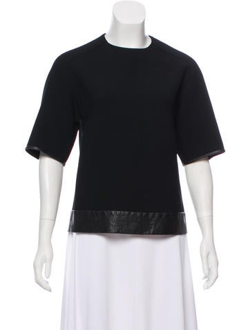3.1 Phillip Lim Leather-Trimmed Wool-Blend Top None