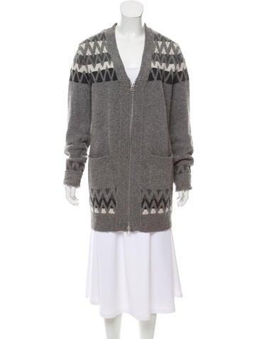 3.1 Phillip Lim Wool Knit Zip-Up Cardigan None