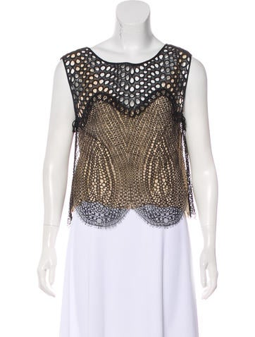 Eyelet-Accented Sleeveless Top