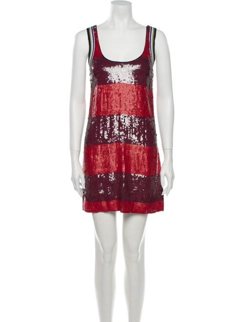 3.1 Phillip Lim Colorblock Pattern Mini Dress Red