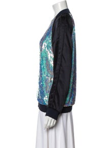 3.1 Phillip Lim Silk Colorblock Pattern Bomber Jacket