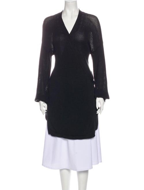 Silent Damir Doma Linen V-Neck Sweater Black