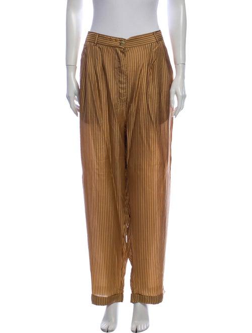 Mes Demoiselles Silk Striped Pajamas Brown