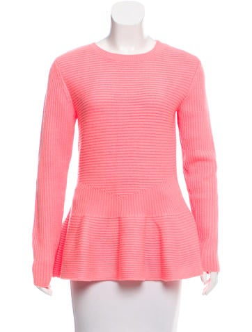 Ted Baker Rib Knit Flounce Sweater None