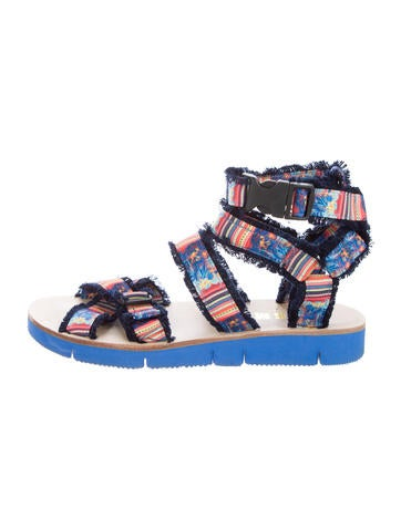 MSGM Printed Canvas Sandals