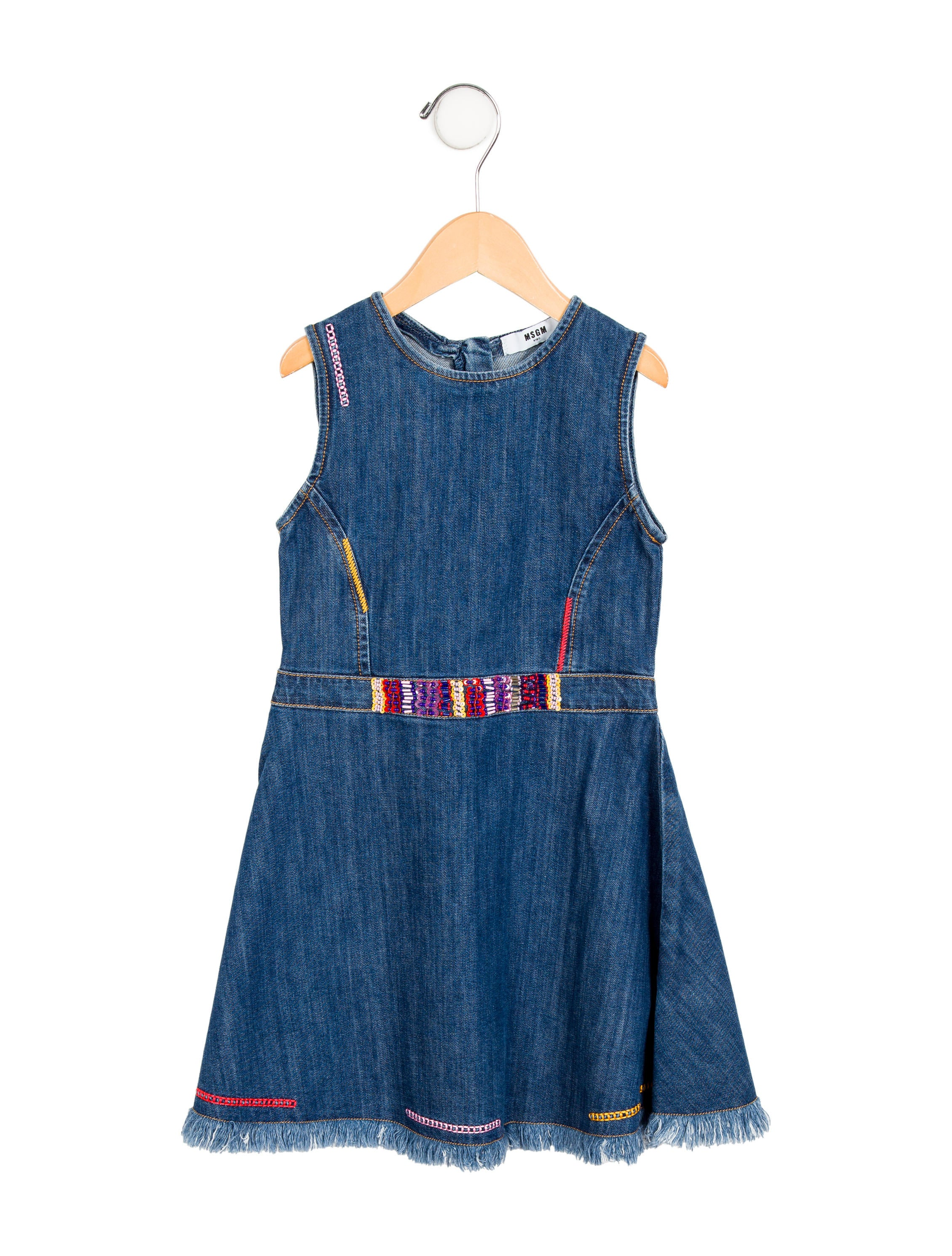 Msgm girls embroidered denim dress w g