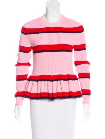 MSGM Striped Peplum Sweater None