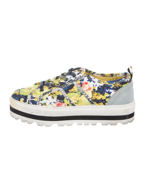 Msgm Floral Platform Sneakers Chartreuse