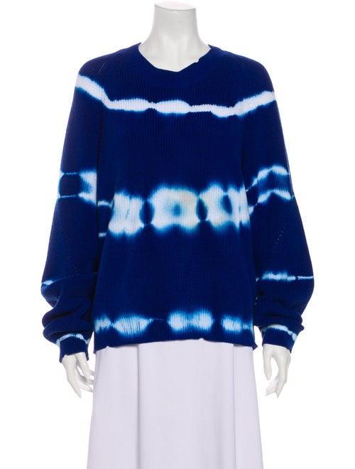 Msgm Tie-Dye Print Crew Neck Sweater Blue