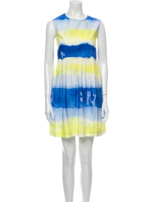 Msgm Tie-Dye Print Mini Dress Blue