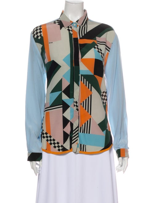Msgm Silk Printed Button-Up Top Blue