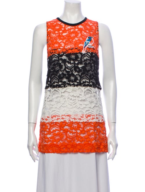 Msgm Lace Pattern Crew Neck Top Orange