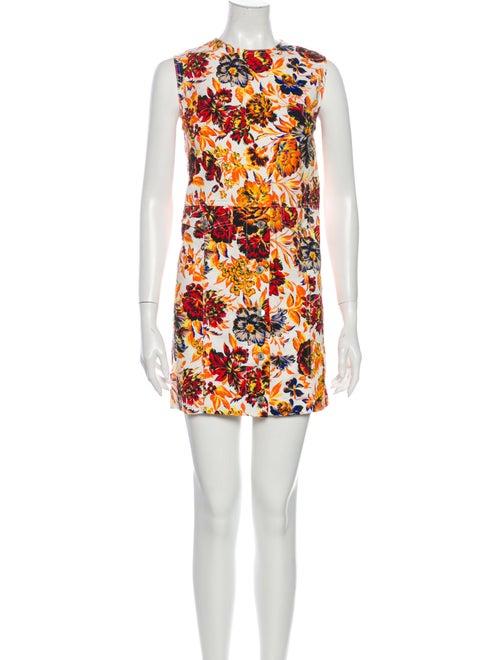 Msgm Floral Print Mini Dress Orange