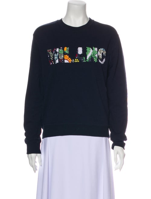 Msgm Graphic Print Crew Neck Sweatshirt Blue