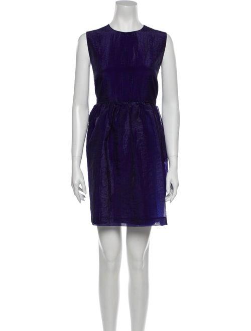 Msgm Crew Neck Mini Dress Purple