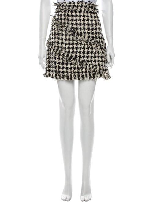Msgm Houndstooth Print Mini Skirt Black