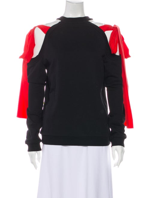 Msgm Mock Neck Long Sleeve Sweatshirt Black
