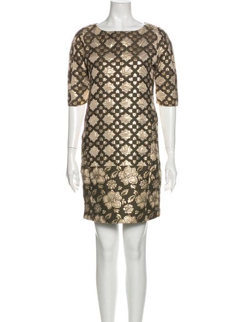 Msgm Printed Mini Dress Metallic