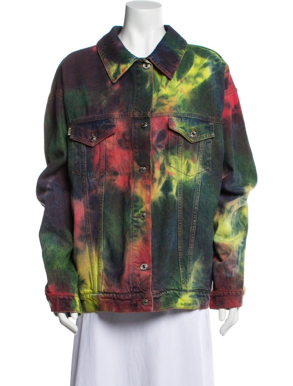Msgm Tie-Dye Print Denim Jacket Denim - image 1