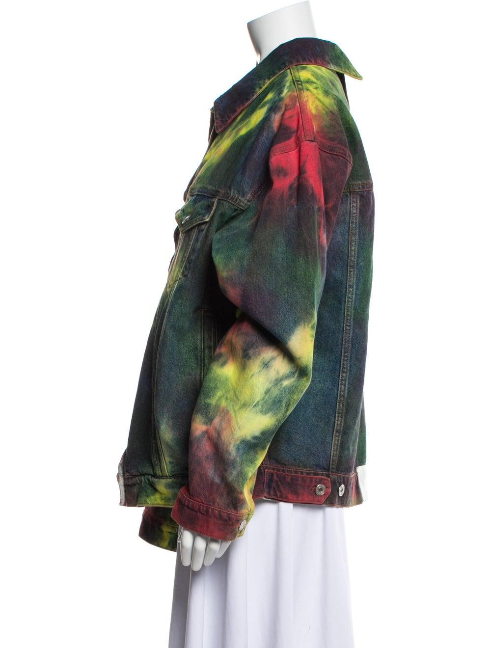 Msgm Tie-Dye Print Denim Jacket Denim - image 2