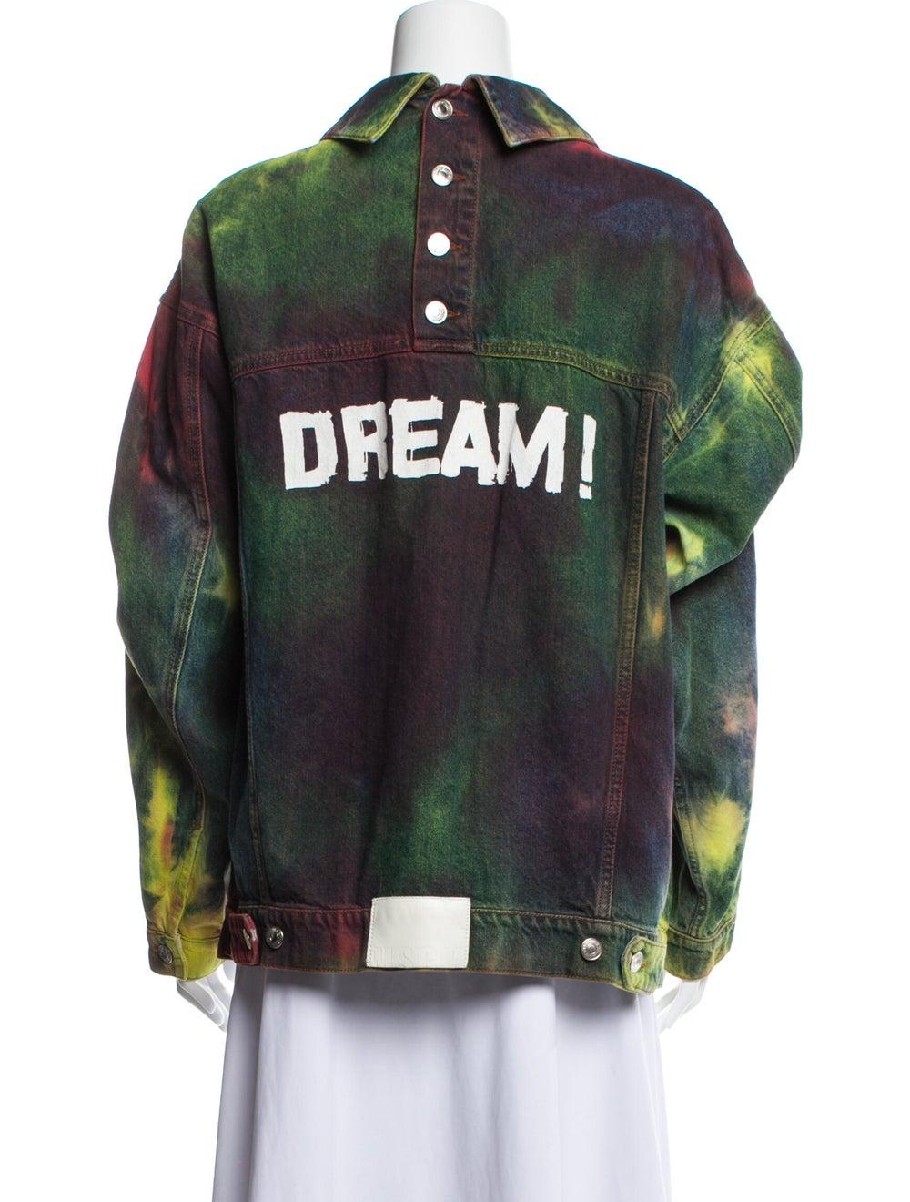 Msgm Tie-Dye Print Denim Jacket Denim - image 3