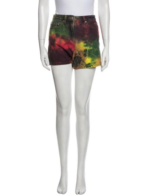 Msgm Tie-Dye Print Mini Shorts Red