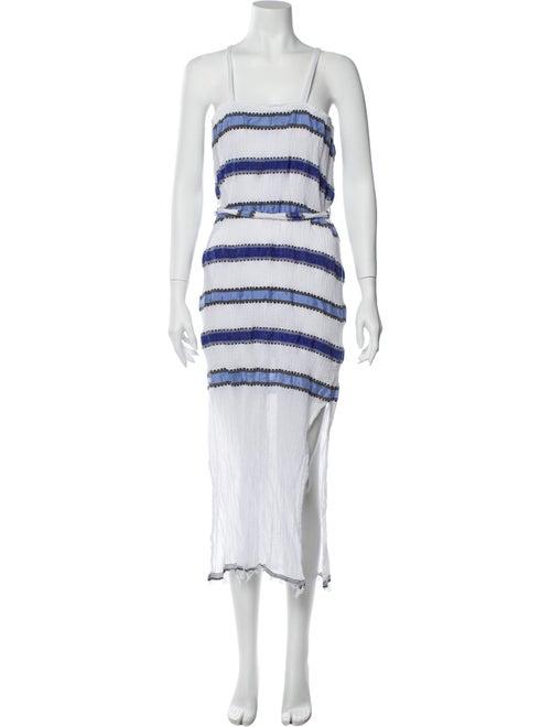 Lemlem Striped Midi Length Dress White