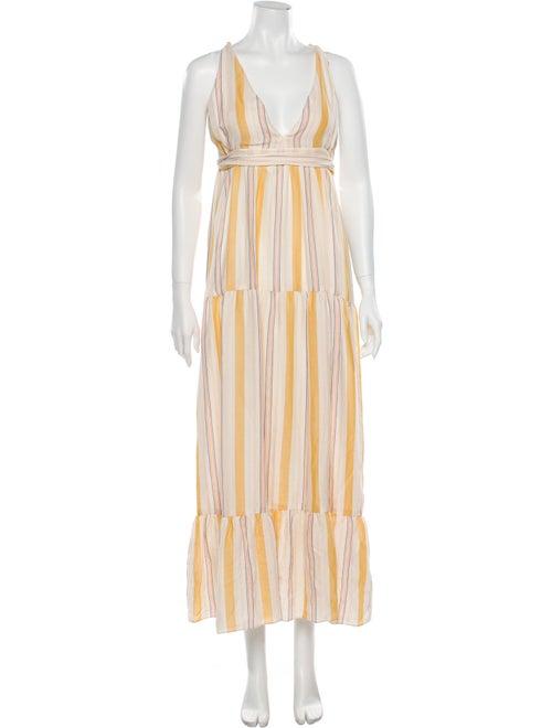 Lemlem Striped Long Dress Yellow