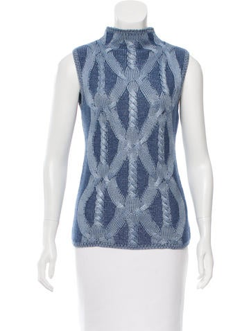 Malo Sleeveless Cable Knit Top None