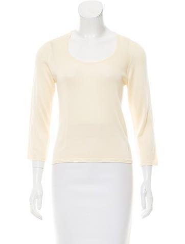 Malo Three-Quarter Sleeve Scoop Neck Sweater None
