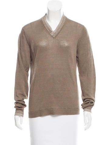Malo V-Neck Linen Sweater None