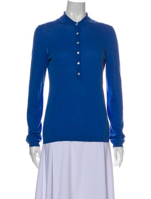 Malo Mock Neck Sweater Blue