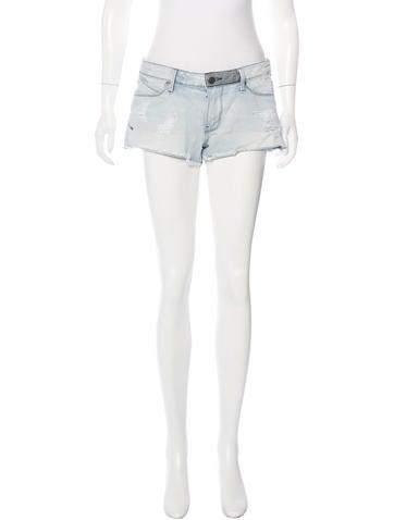 RtA Denim Distressed Mini Shorts None