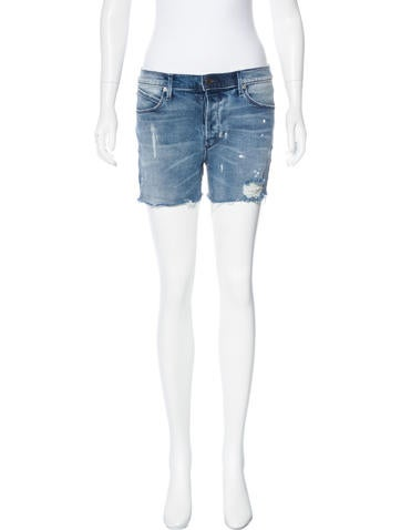 RtA Denim Distressed Denim Shorts None