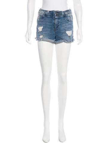 RtA Denim Distressed High-Rise Shorts None