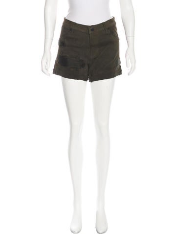 RtA Denim Distressed Suede Mini Shorts None