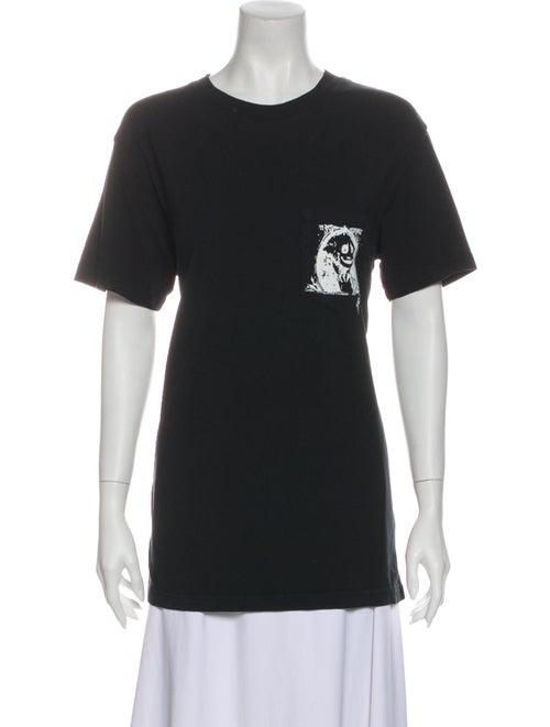 RtA Denim Graphic Print Crew Neck T-Shirt Denim