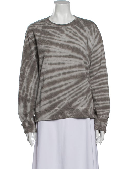 RtA Denim Tie-Dye Print Crew Neck Sweatshirt Denim