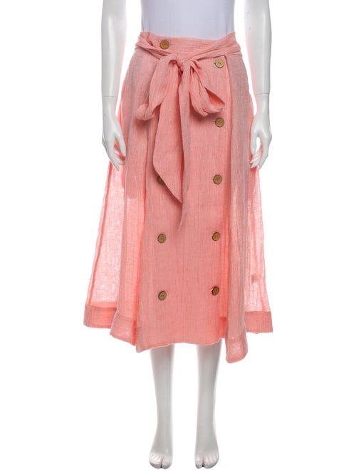 Lisa Marie Fernandez Linen Midi Length Skirt Red