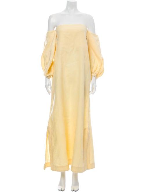 Lisa Marie Fernandez Linen Long Dress Yellow