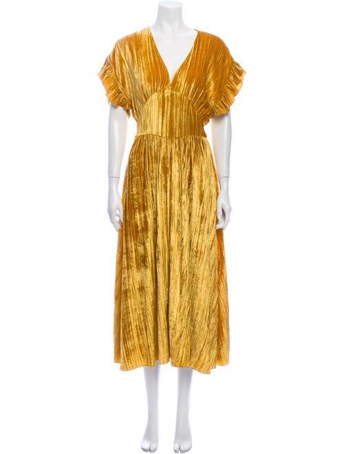 Masscob V-Neck Long Dress Yellow