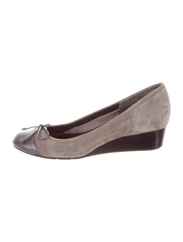 Cole Haan Suede Round-Toe Wedges None