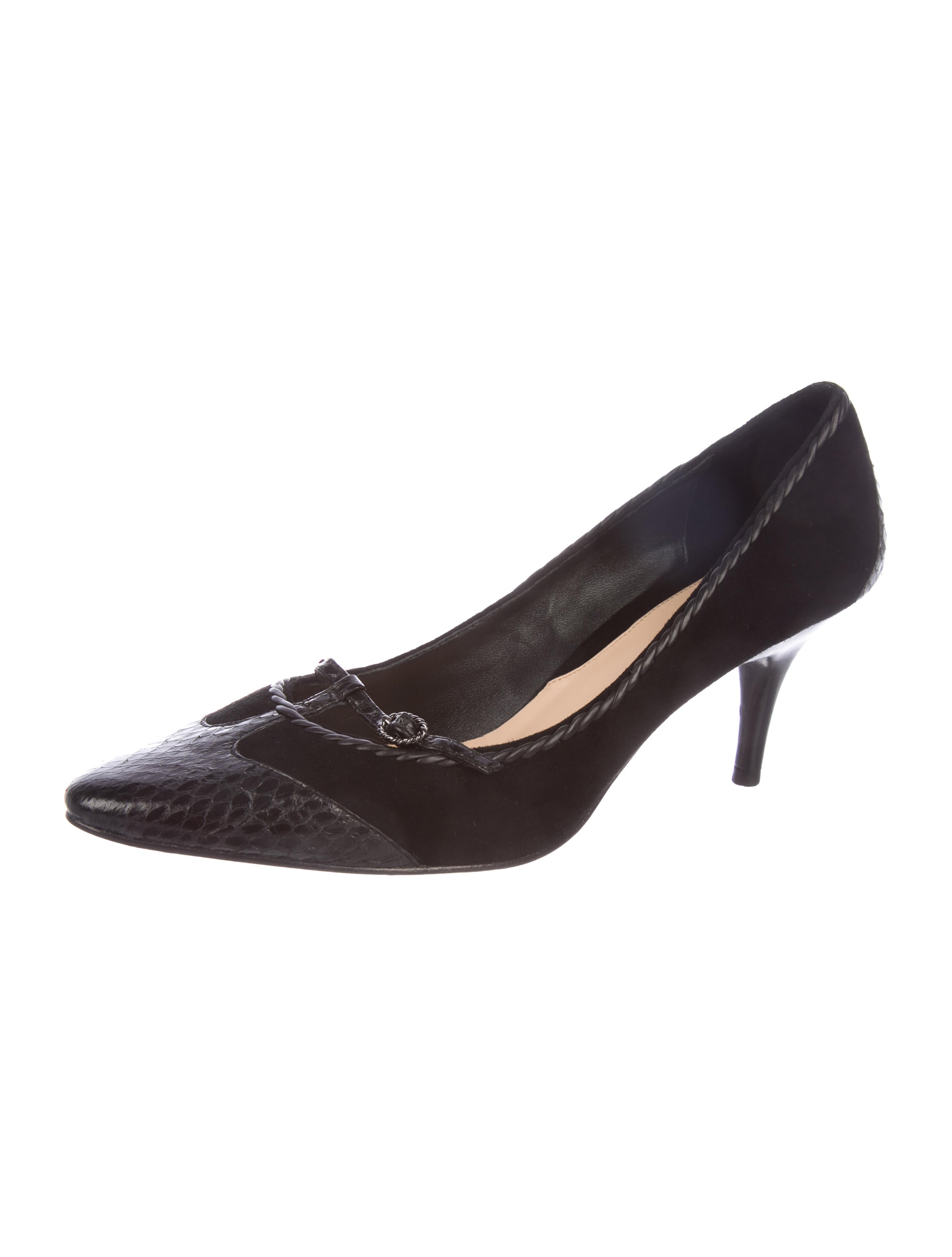 Cole Haan Snakeskin-Trimmed Pointed-Toe Pumps how much sale online best seller cheap price visit new sale online low price fee shipping FGN4z