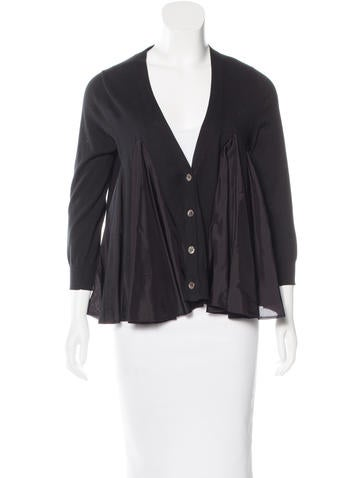 Sacai Luck Pleated V-Neck Cardigan None