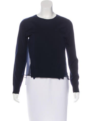 Sacai Luck Silk-Trimmed Wool Sweater w/ Tags None